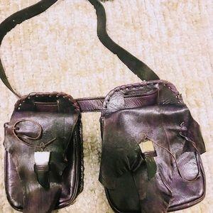 Handbags - Hand made leather fanny pack. Dark purple. Size 42